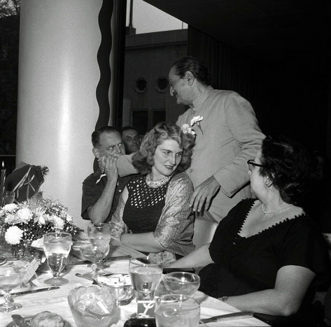 22nd July 1956 : Meher Baba with the Rudds at Longchamps Restaurant, Manhattan, NY. Lady in black is Lotretta Weller. is