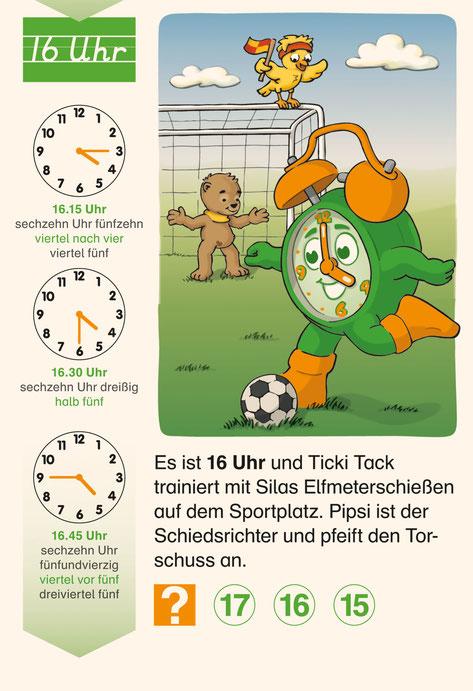 Die Uhrzeit lernen mit Ticki Tack Vergrößerung der 16-Uhr-Illustration