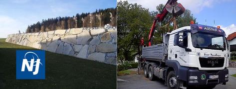 Steinmauer/Steinschlichtung;  Neundlinger Josef; Oberkappel; Bezirk Rohrbach; Transporte Neundlinger