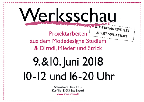 Die Eröffnung & Werksschau war am 09. & 10. Juni 2018 (10 - 12 Uhr und 16 - 20 Uhr).