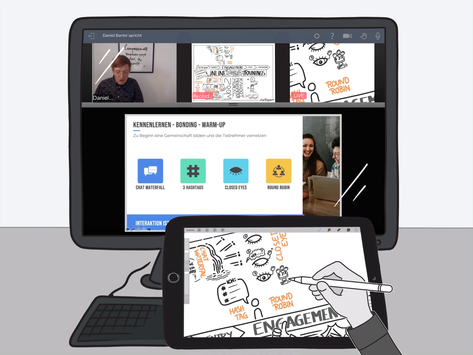 Online Graphic Recording - remote integriert in Videokonferenz Tools