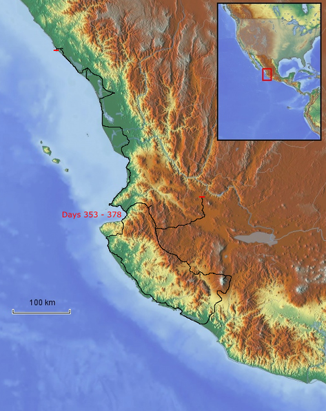 Route Pazifikküste nördlich von Acapulco