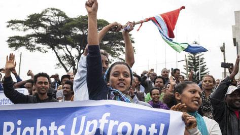 Masseprotester imod landets president Isaias Afwerki, august 2015