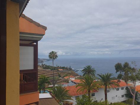 Pool in Form eines L auf dem Dach vom Haus mit Meerblick.