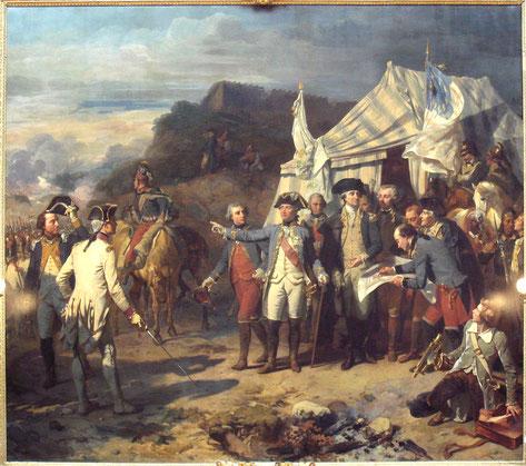 Washington(au centre), Rochambeau (à gauche) et La Fayette (à droite) à Yorktown