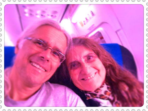 Avinash and Pyari on the plane to Buenos Aires, april 2015