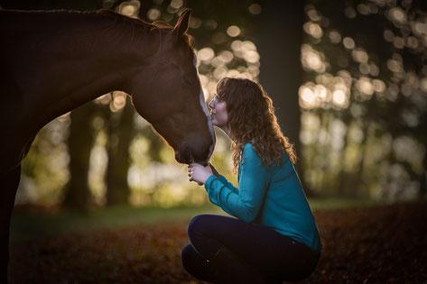 Bijzondere band tussen mens en paard. Paard en eigenaar liggen bij elkaar in de paddock.