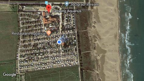 Der blaue Punkt bin ich. 😀☀️ Keine fünf Minuten zum Strand. 😃