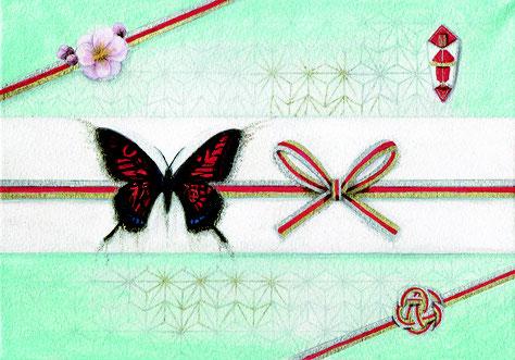 「お祝いの贈り物」パステル日本画 158x227mm
