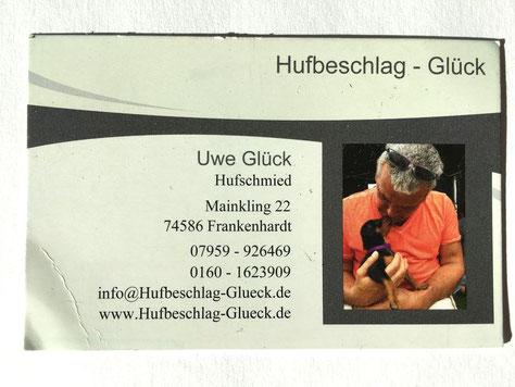 März 2019, die aktuelle Visittenkarte (Hufschmied) von Uwe Glück. Wie man sieht, darf die große Liebe nicht fehlen  ;-))