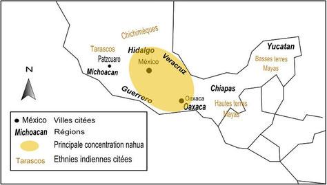 Principaux lieux et ethnies indiennes citées dans l'article. Carte, Elfie Guyau.