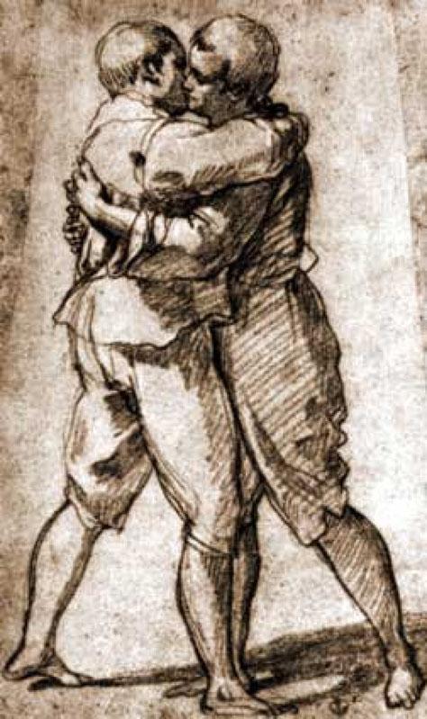 Due uomini fiorentini che si baciano - Disegno di Bartolomeo Cesi