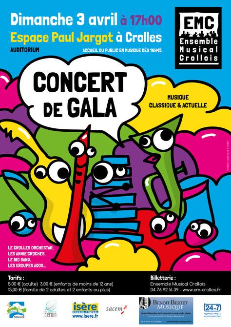 Ecole de musique EMC Crolles - Grésivaudan : Affiche du concert de gala d'avril 2016