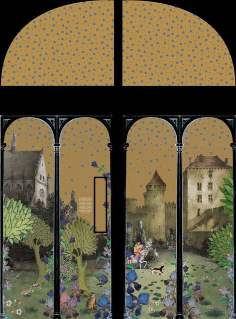 Décor pour porte représentant une vue ancienne de la cathédrale et du château. Une ouverture rectangulaire est aménagée afin de contempler le château des ducs de Bourbon. Cette composition est en lien avec la porte des retables précédemment réalisée.
