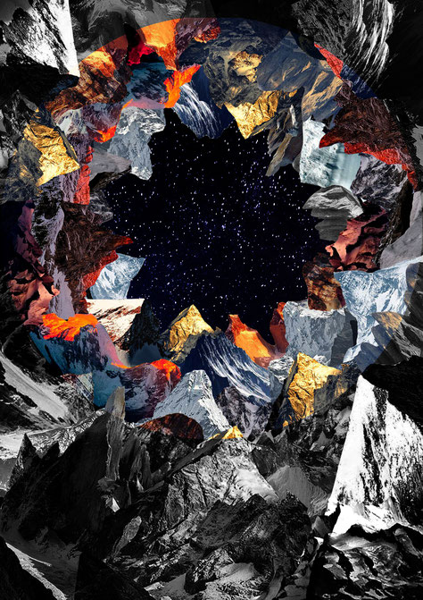 apollo-artemis, fashion, design, sustainable, handmade, artwork, mixed media, landscape, mountains, stars, sky