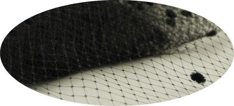 Schleier mit Chenille Tupfen, 45 cm Breite, schwarz