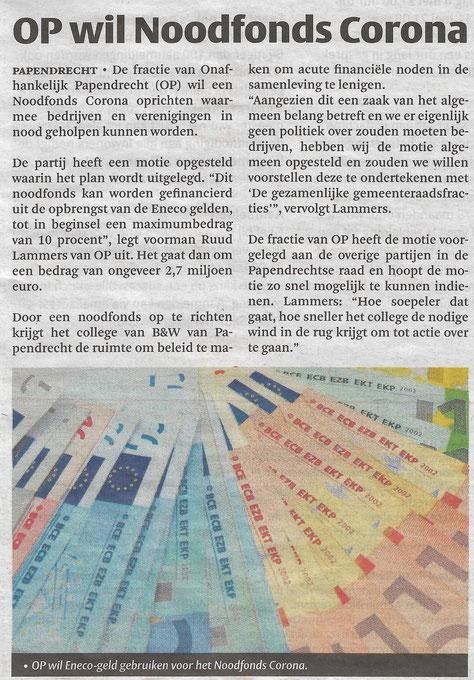 Artikel verschenen in de Klaroen op woensdag 22 april 2020