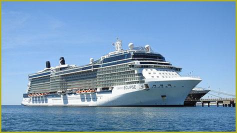 Kasimirs, Cäsars, Fredis und Kerls Schiff, die Celebrity Eclipse, für die Reise in die Antarktis