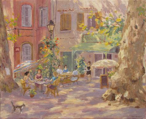 Tony Wahlander (Wåhlander) Le salon de thé de la place Saint Vincent à Barjols