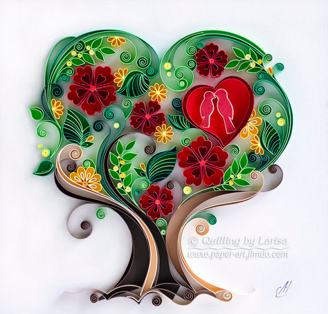 quilling , quilling paper, paper art, art, love, design, love heart, love tree, quilling tree, hearts, quilling art, quilling paper art