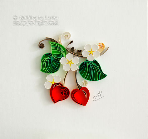 quilling , quilling paper, paper art, art, love, cherry, love artwork, love art, for her, etsy, larisa zasadna, design, love heart, hearts, quilling art, quilling paper art