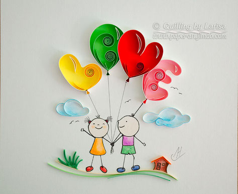quilling, quilling art, paper, Love balloons, paper art, design, wall art, quilling wall art, love, gift, anniversary gift, love art, artwork, quilling artwork, Etsy, любовь, квиллинг, бумага, дизайн