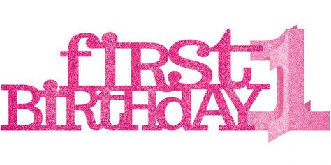 Tafeldecoratie First Birthday 35,5 x 11,5 cm roze € 3,35