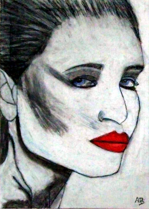 Frauenportrait, Passtellgemälde, Frau, moderne Malerei, abstrkte Malerei, Pastellmalerei, Pastellbild, Portrait, moderne Kunst