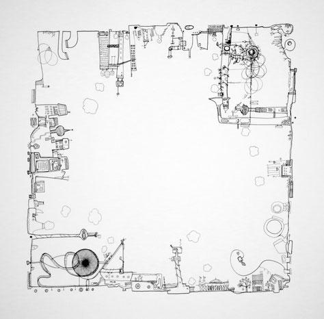 eva pils city nr 09 framed ink&paper 50x50 cm