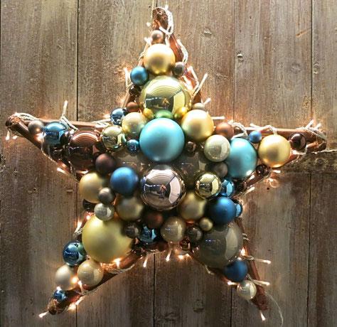 stern, weihnachtsdeko, türdeko, türkranz, blau, türkis, tür kranz, fenster deko, stern aus glaskugeln, handgefertigt, fensterdeko, weihnachtsdeko