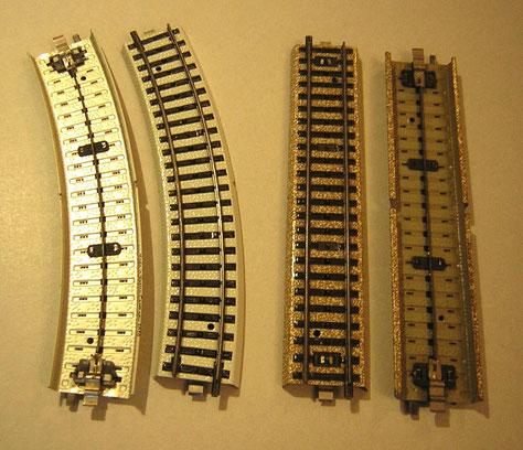 Das Primex-Gleis, farblich deutlich unterschiedlich zu der Märklin M-Gleis Ausführung.