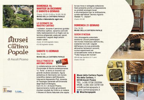 Gli eventi dei Musei Civici di Ascoli nei mesi di Dicembre e Gennaio