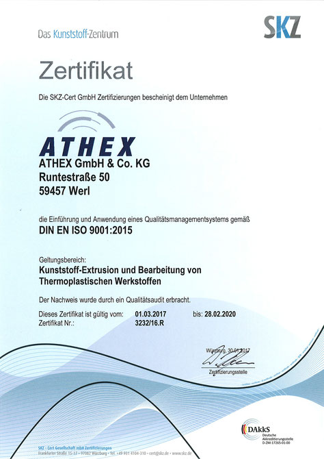 ATHEX – DIN EN ISO 9001:2015