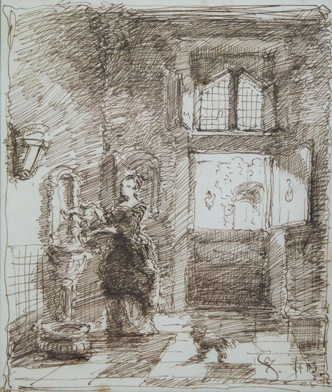 te_koop_aangeboden_een_pentekening_kunstwerk_van_de_kunstenaar_johannes_stroebel_1821-1905_hollandse_romantiek