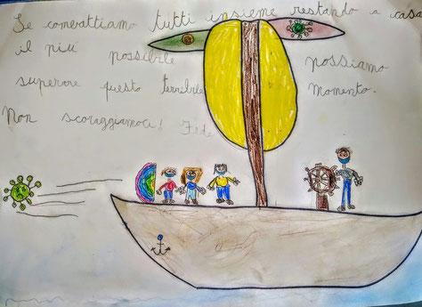 tre bambini sconfiggono il virus con uno scudo arcobaleno e un papà che guida la nave