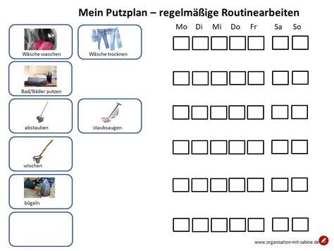 Putzplan  Routineaufgaben im Haushalt zum Download #putzen #plan