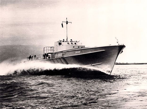 """S-""""Jaguar"""" - erste Probefahrten mit Werftpersonal - Foto: Archiv Förderverein"""