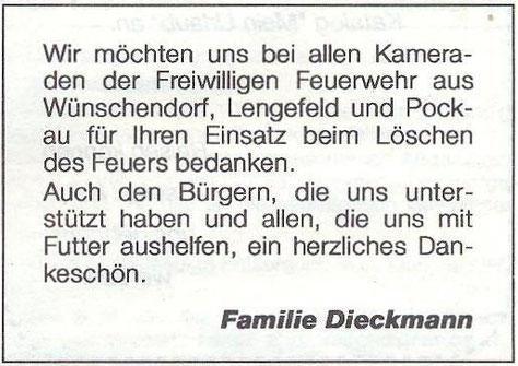 Bild: Wünschendorf Brand Scheune Dieckmann