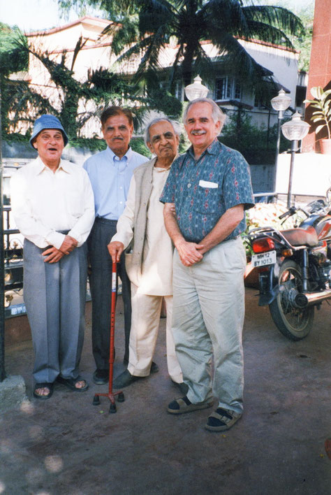 ( L-R ) Kishore Mistry, Pratap Ahir, Madhusudan and Jeff Wolverton in India. Photo courtesy of Nan Wicker.