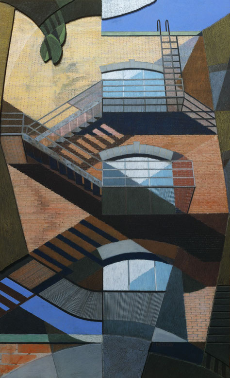 francois beaudry mixed-media painting  pastel watercolor and encaustic bas-relief fire escape series 2