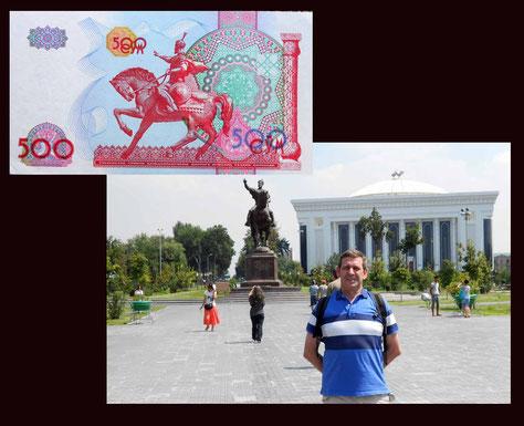 500 som Uzbekistan desde AminTimur estatua ecuestre