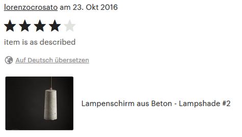 Beton Lampenschirm, 4 Sterne Kundenbewertung