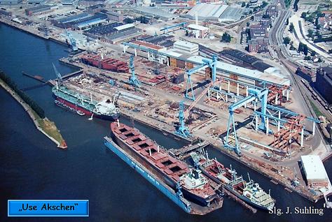 """""""Use Akschen"""" Mitte 1983, zum Ende des Jahres ging die Werft unter."""