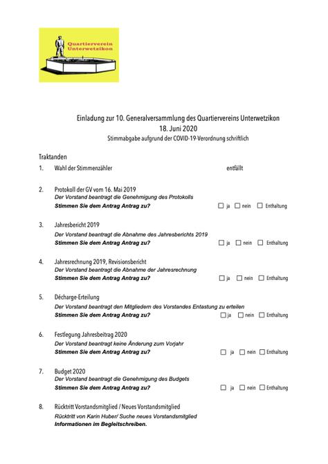 Einladung zur Generalversammlung 2019 des Quartierverein Unterwetzikon