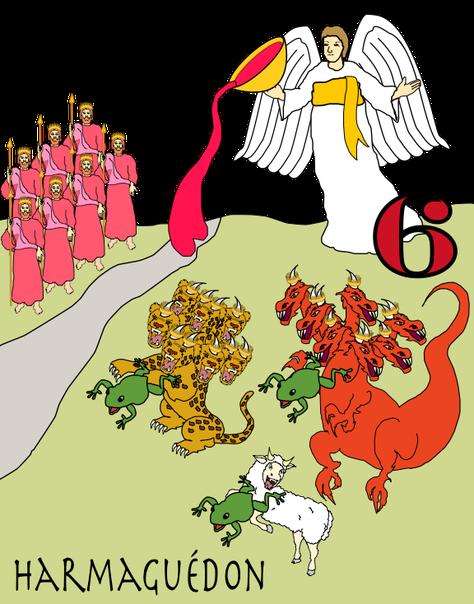 Le 6ème ange verse sa coupe sur l'Euphrate. Des rois viennent d'Orient. Les esprits impurs ou démons sont représentés ici sous la forme de grenouilles sortant de la bouche du faux prophète (l'antichrist), du dragon (Satan) et de la bête (image de l'ONU).