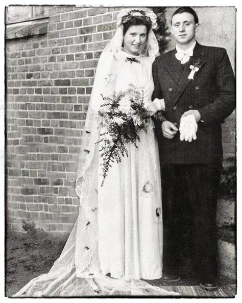 Hochzeitsfoto aus dem Jahre 1954 mit Anneliese und Gerhard