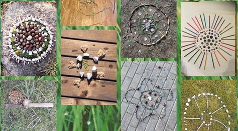 Eine Kunstaufgabe in der Natur: Erstellung eines Natur-Mandalas