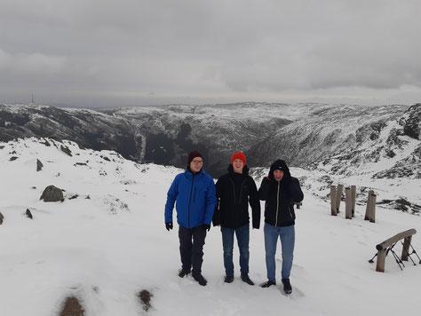 Die drei Bergen-Praktikanten im Tiefschnee auf dem Ulriken