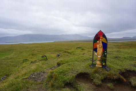 Marien-Statue auf der Insel Viðey