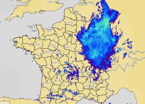 Perturbation qui s'évacue par l'Est après avoir douché l'Aisne et les Ardennes. source : Météo France.